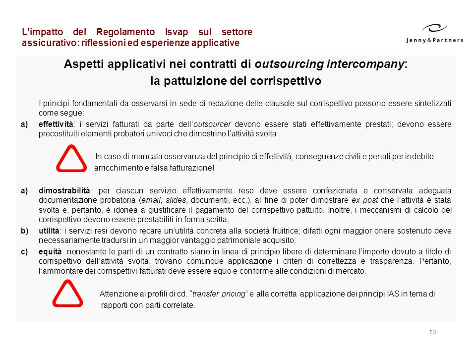 Aspetti applicativi nei contratti di outsourcing intercompany: