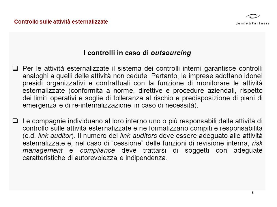 I controlli in caso di outsourcing