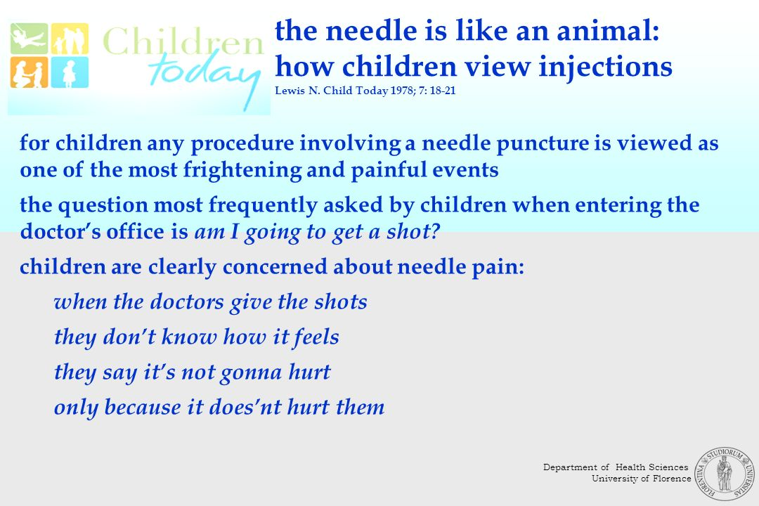 the needle is like an animal: how children view injections