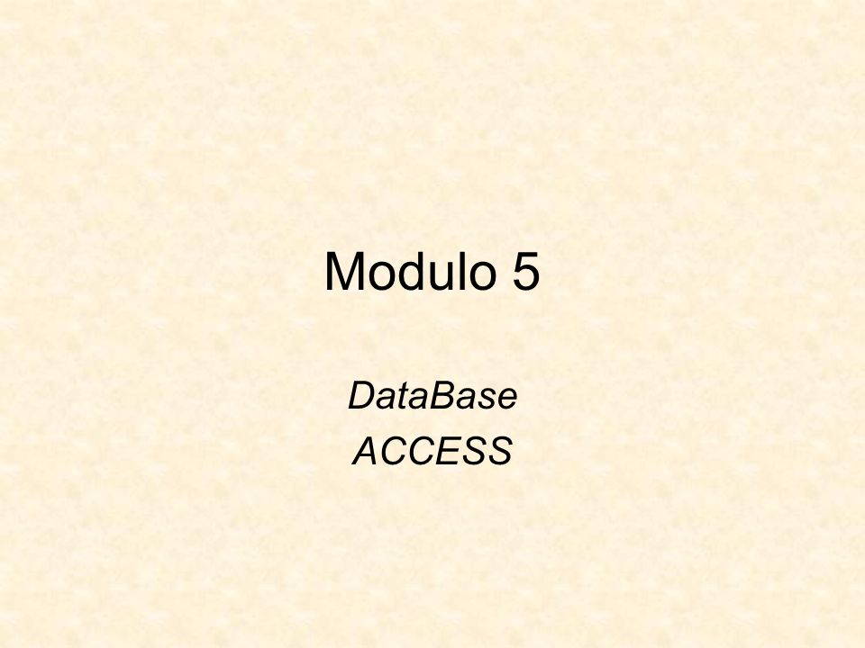 Modulo 5 DataBase ACCESS