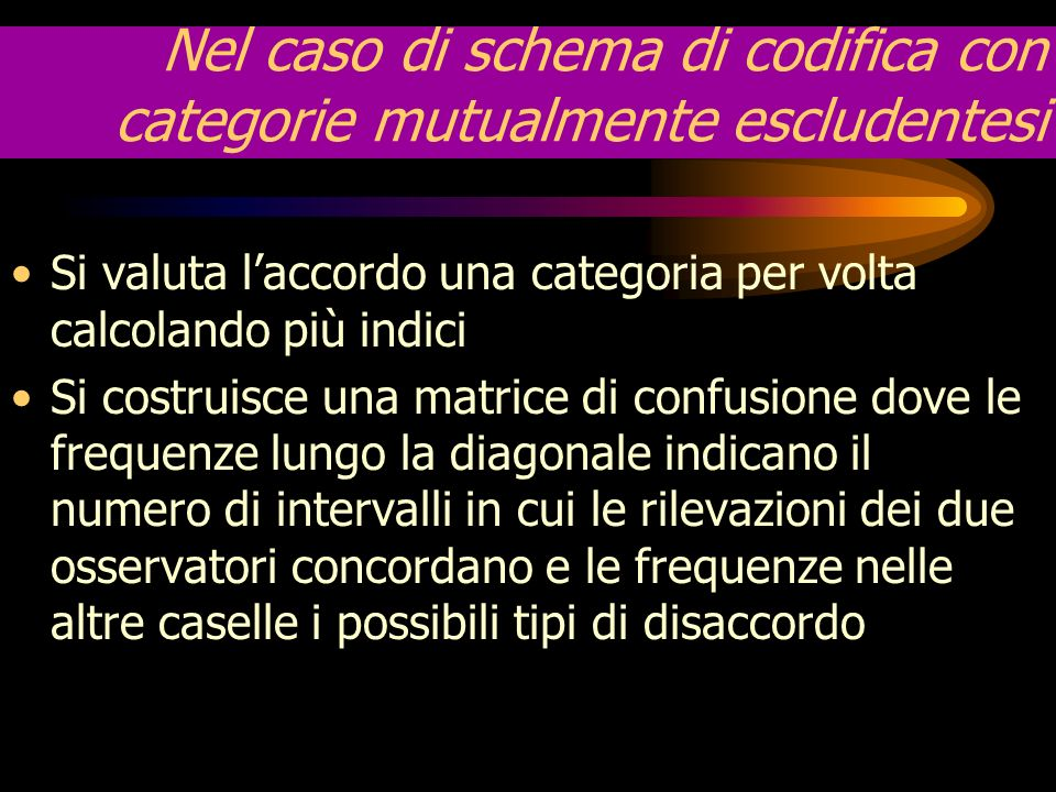 Nel caso di schema di codifica con categorie mutualmente escludentesi