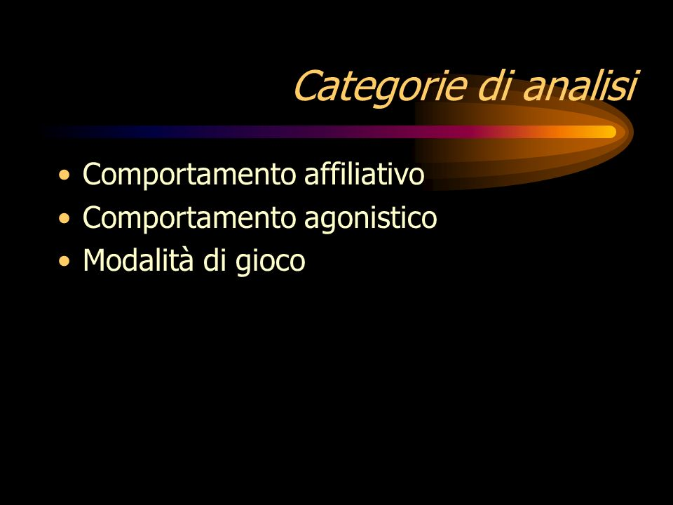 Categorie di analisi Comportamento affiliativo
