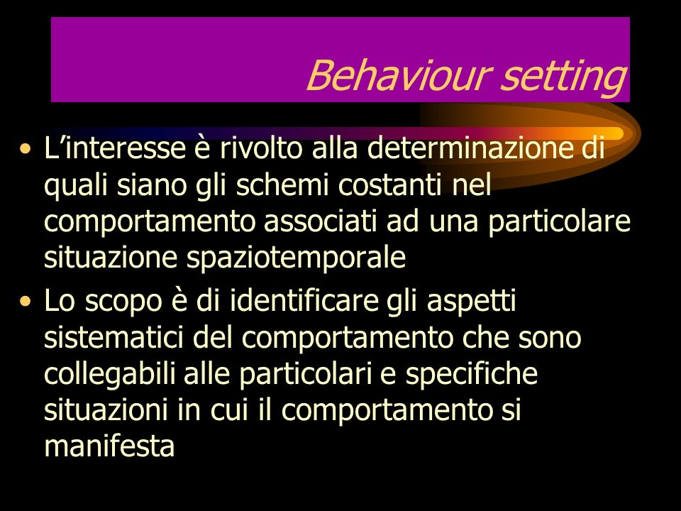 Behaviour setting