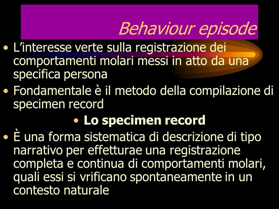 Behaviour episode L'interesse verte sulla registrazione dei comportamenti molari messi in atto da una specifica persona.