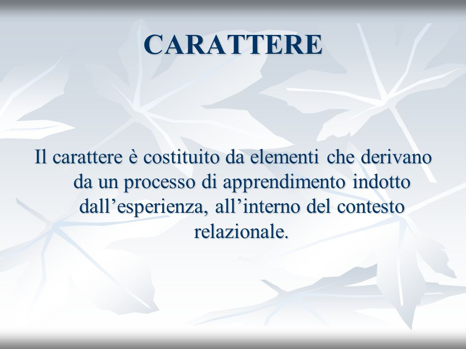 CARATTERE