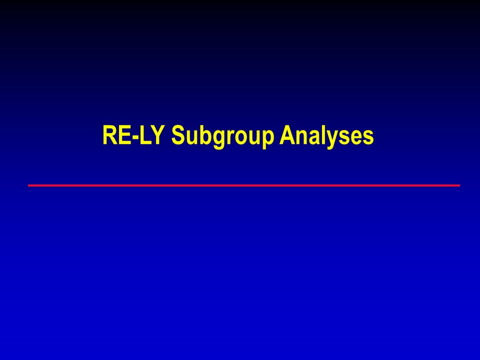 RE-LY Subgroup Analyses