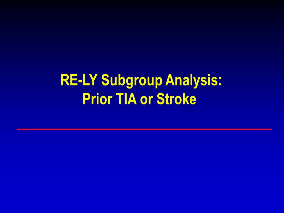 RE-LY Subgroup Analysis: