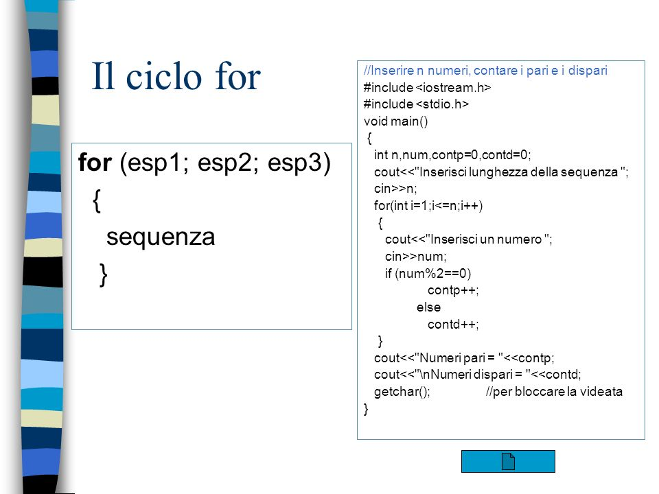 Il ciclo for for (esp1; esp2; esp3) { sequenza }