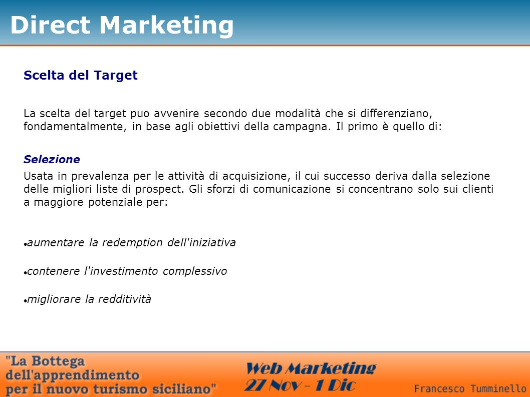 Direct Marketing Scelta del Target