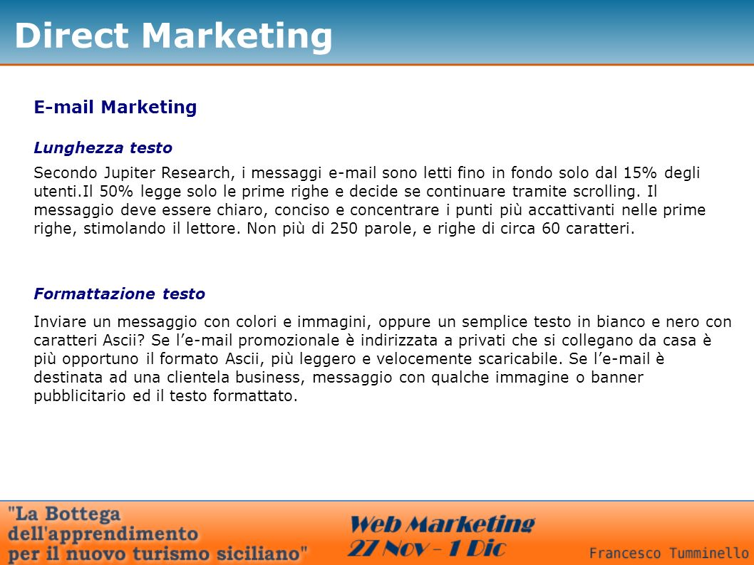 Direct Marketing  Marketing Lunghezza testo