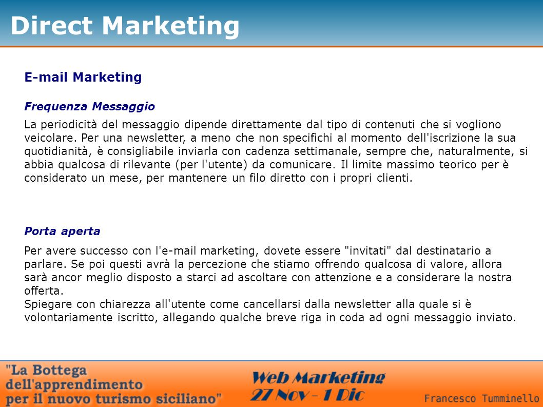 Direct Marketing  Marketing Frequenza Messaggio