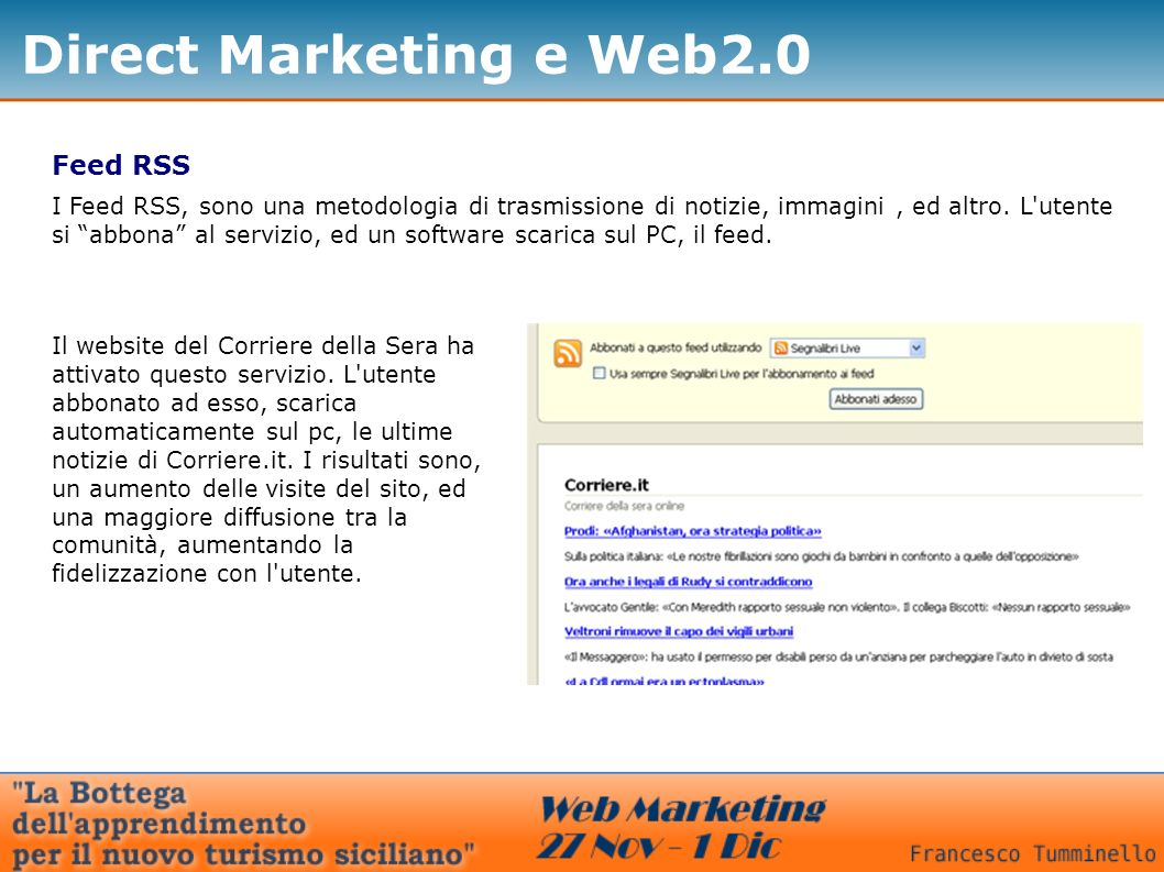 Direct Marketing e Web2.0 Feed RSS