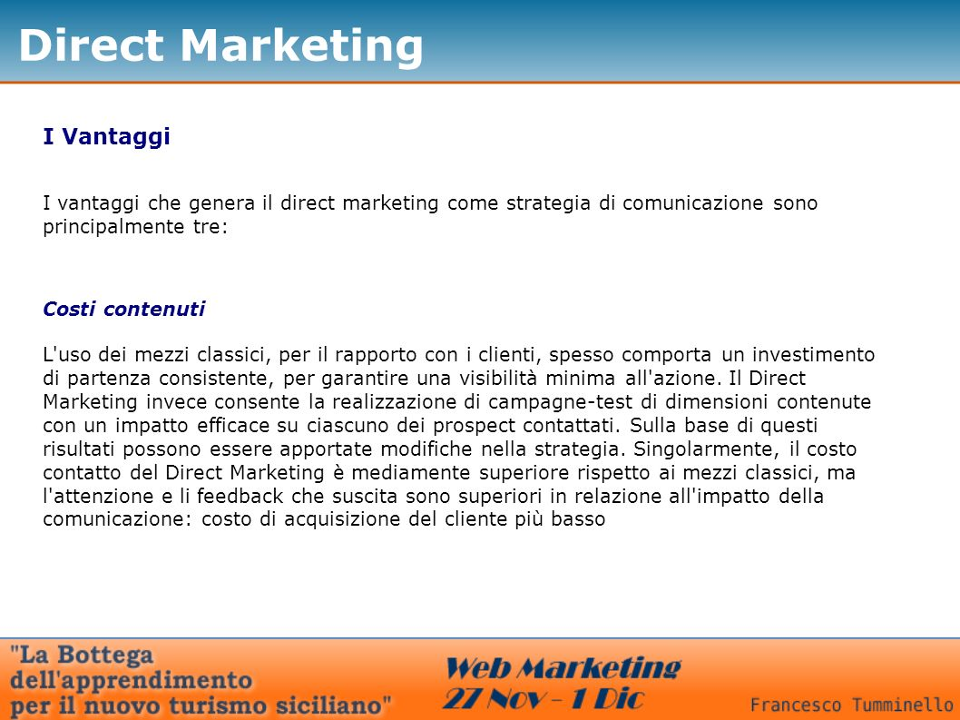 Direct Marketing I Vantaggi