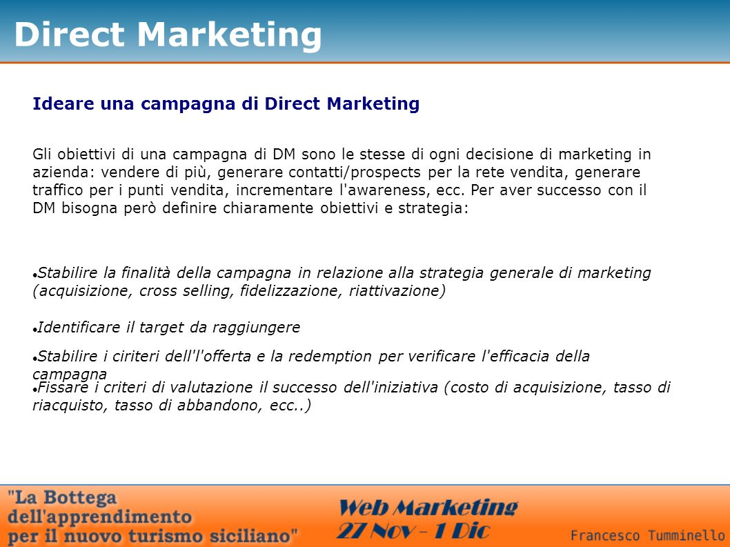 Direct Marketing Ideare una campagna di Direct Marketing