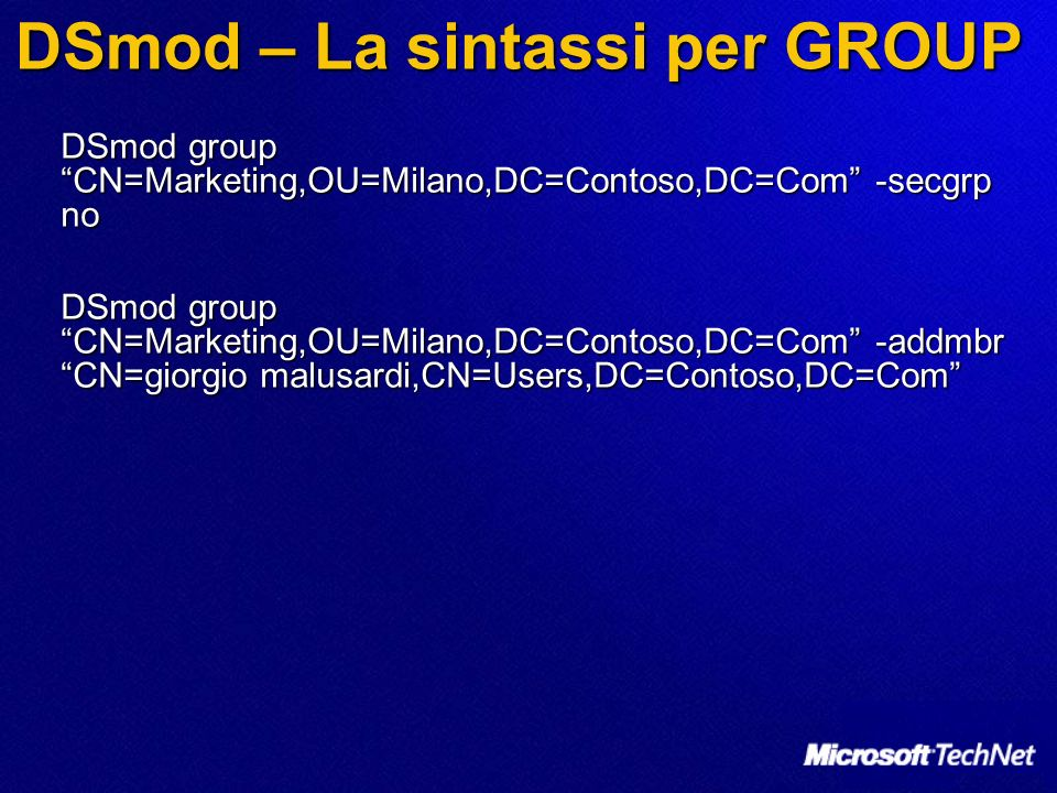 DSmod – La sintassi per GROUP