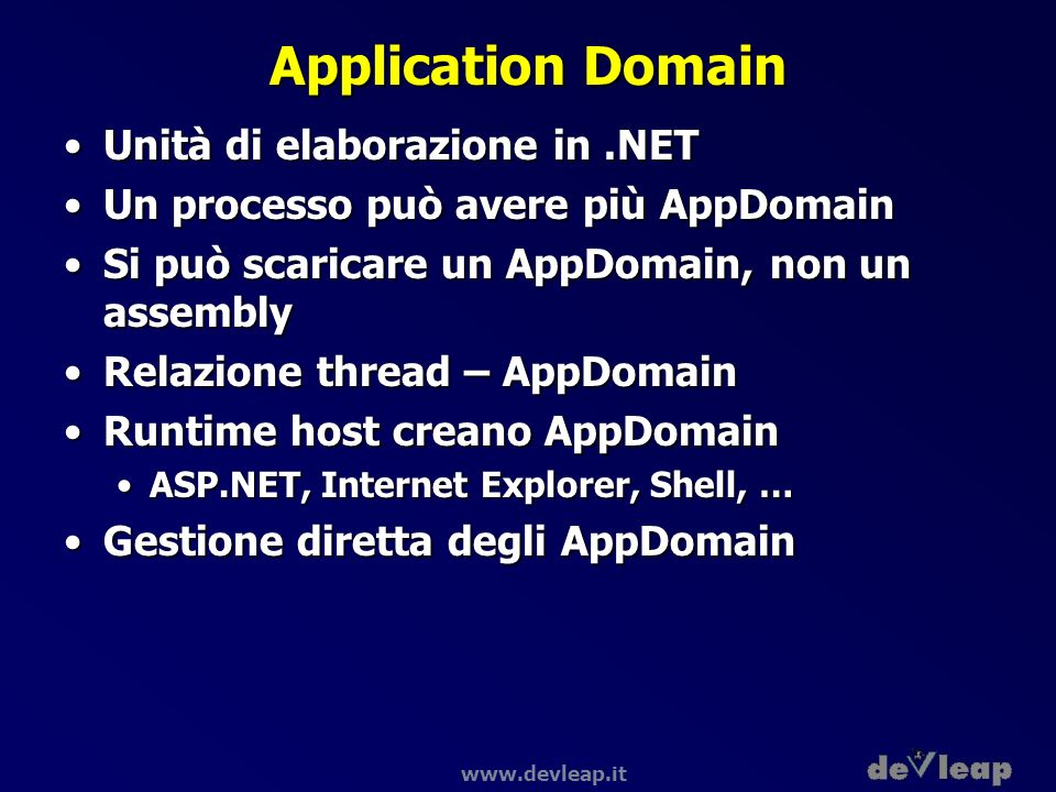 Application Domain Unità di elaborazione in .NET