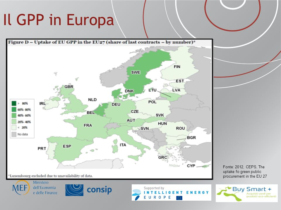 Il GPP in Europa Fonte: 2012, CEPS, The uptake fo green public procurement in the EU 27