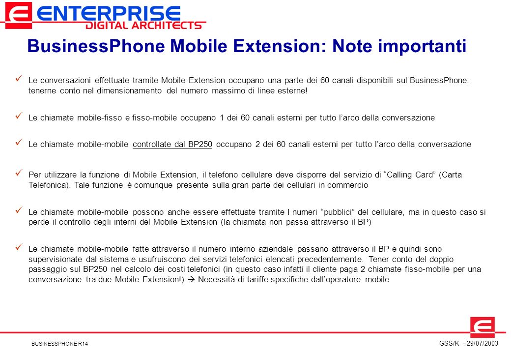 BusinessPhone Mobile Extension: Note importanti