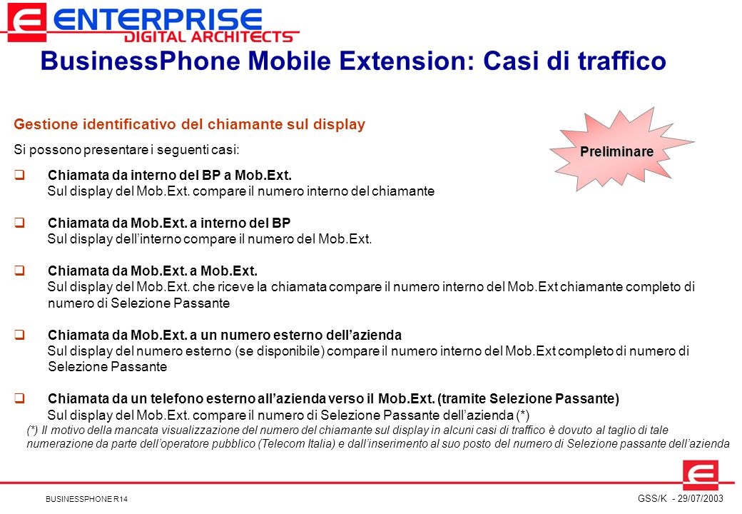 BusinessPhone Mobile Extension: Casi di traffico