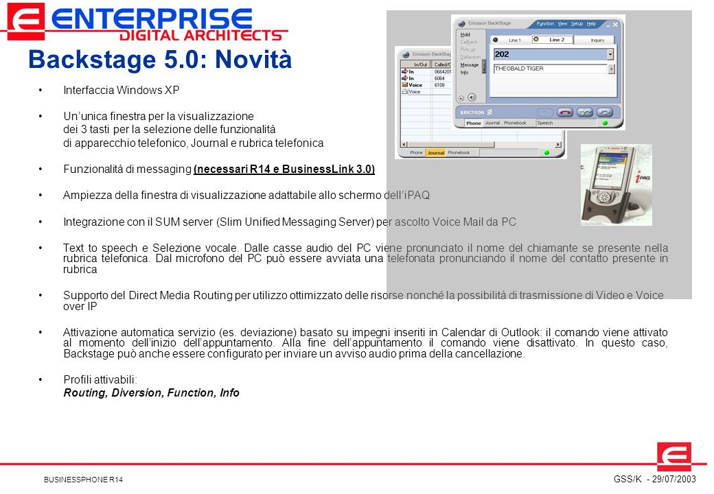 Backstage 5.0: Novità Interfaccia Windows XP