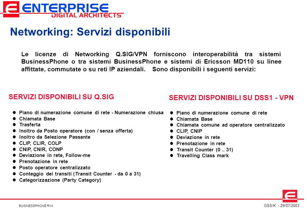 Networking: Servizi disponibili