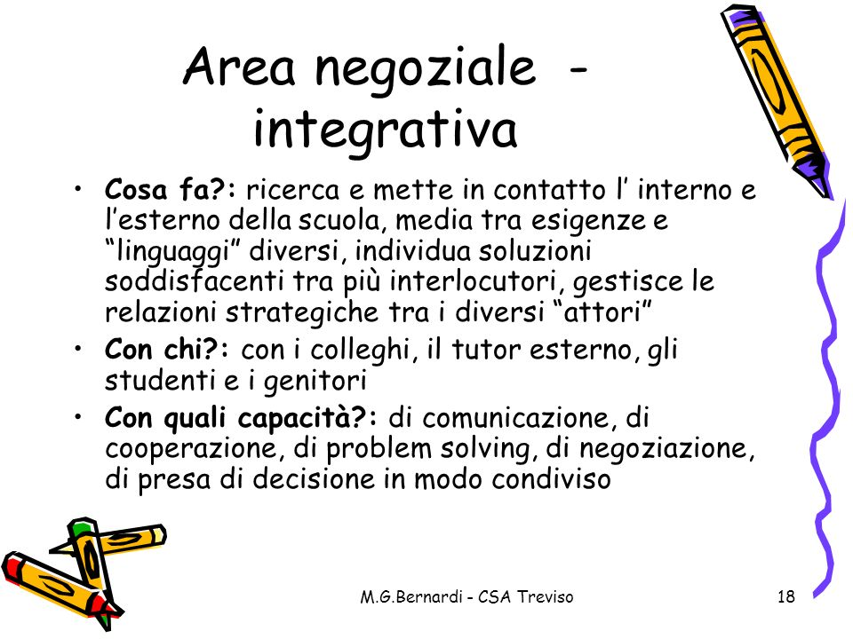 Area negoziale - integrativa