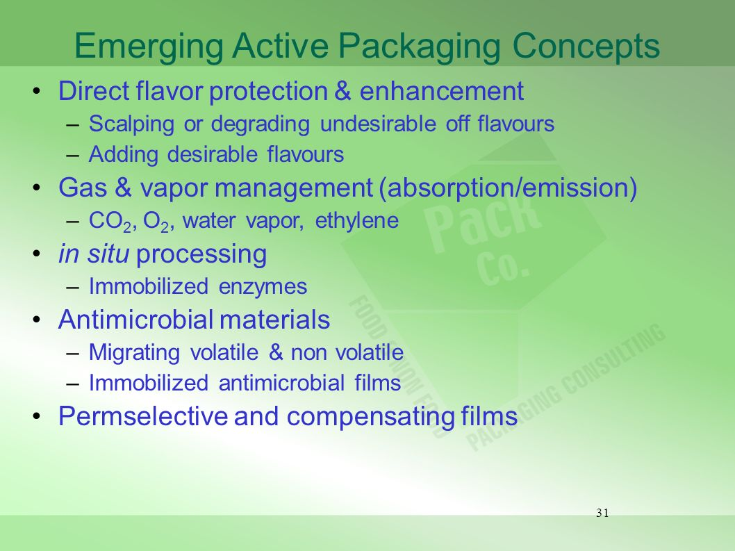 Emerging Active Packaging Concepts