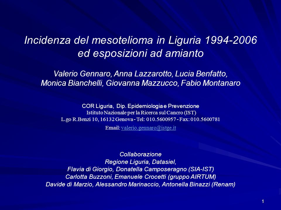Incidenza del mesotelioma in Liguria