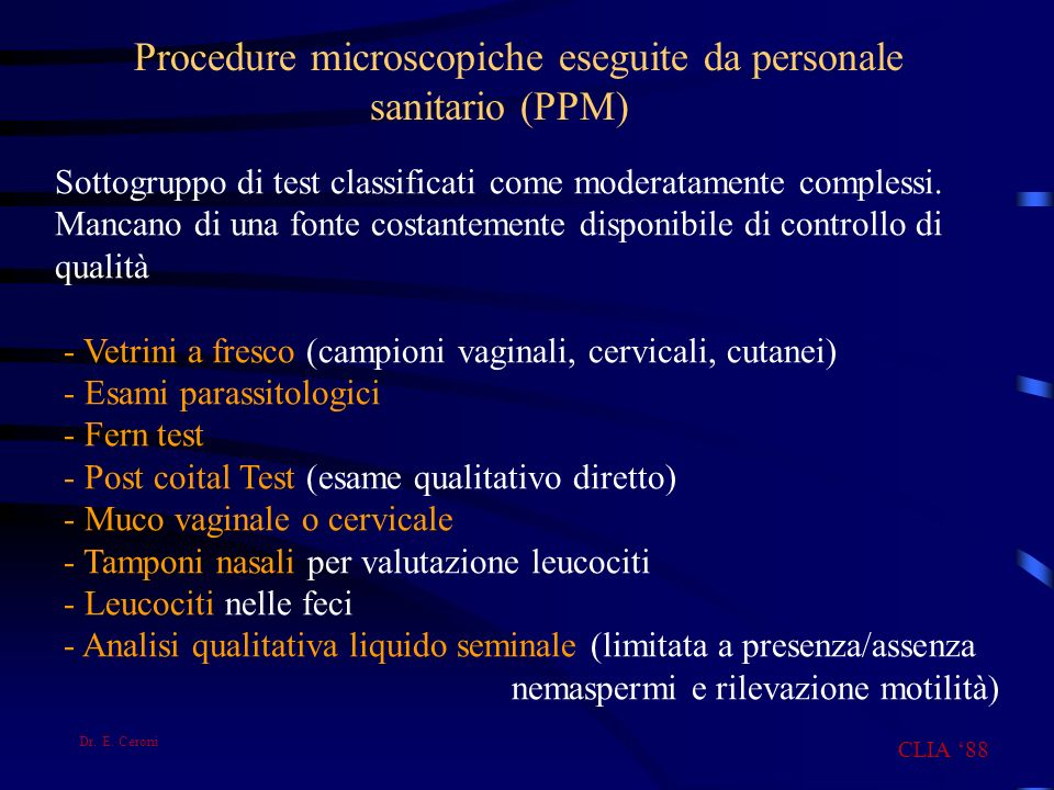 Procedure microscopiche eseguite da personale sanitario (PPM)