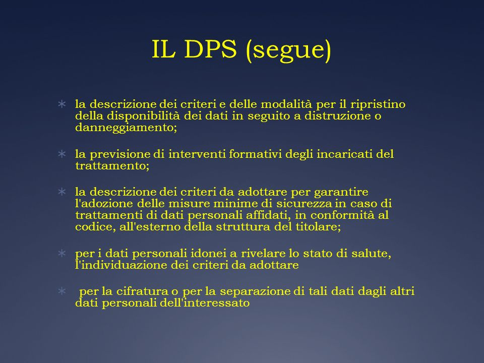 IL DPS (segue)