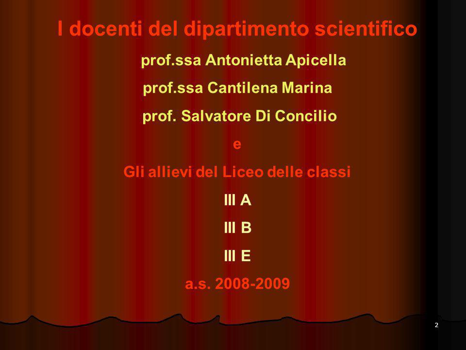 I docenti del dipartimento scientifico