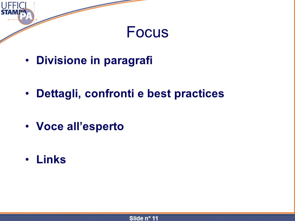 Focus Divisione in paragrafi Dettagli, confronti e best practices