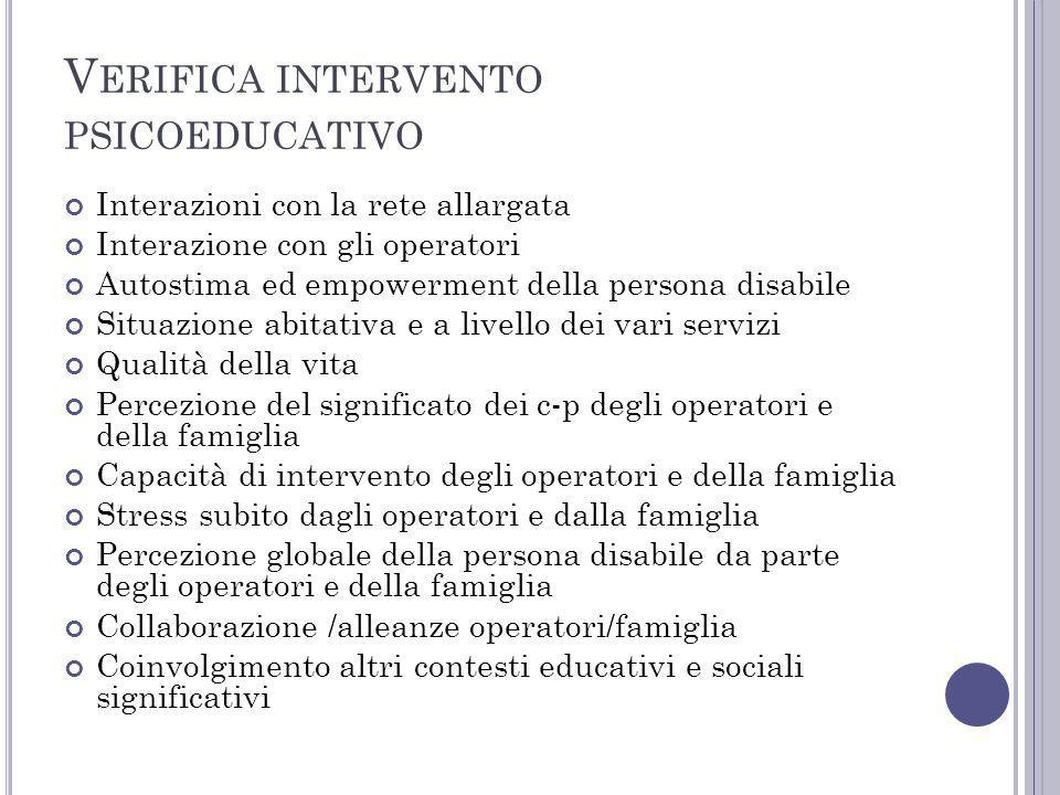 Verifica intervento psicoeducativo