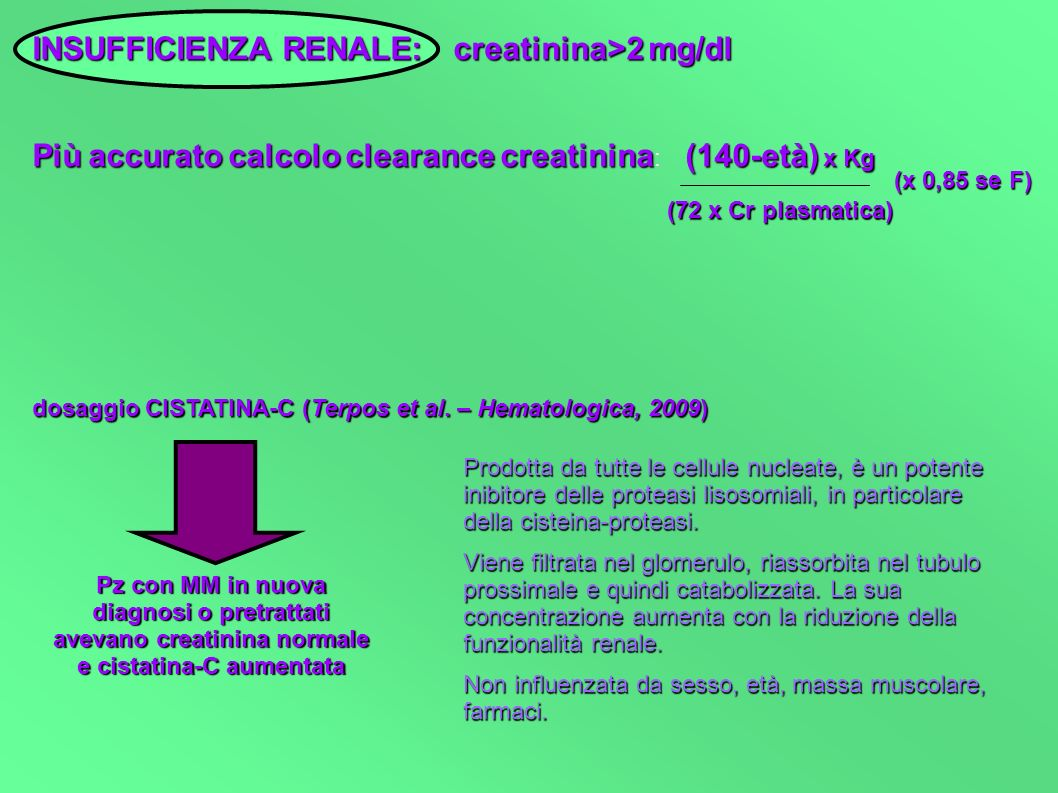 INSUFFICIENZA RENALE: creatinina>2 mg/dl