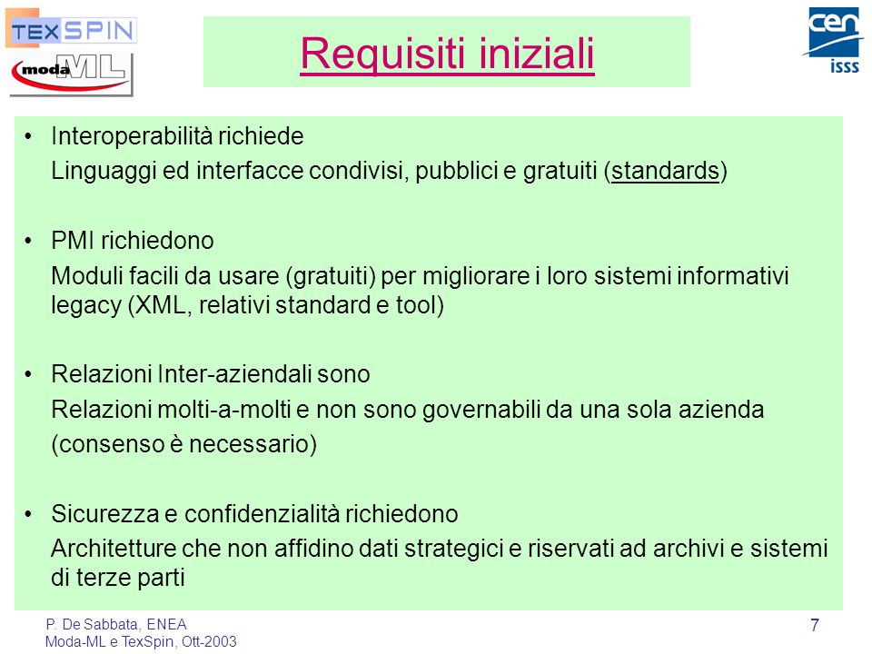Requisiti iniziali Interoperabilità richiede