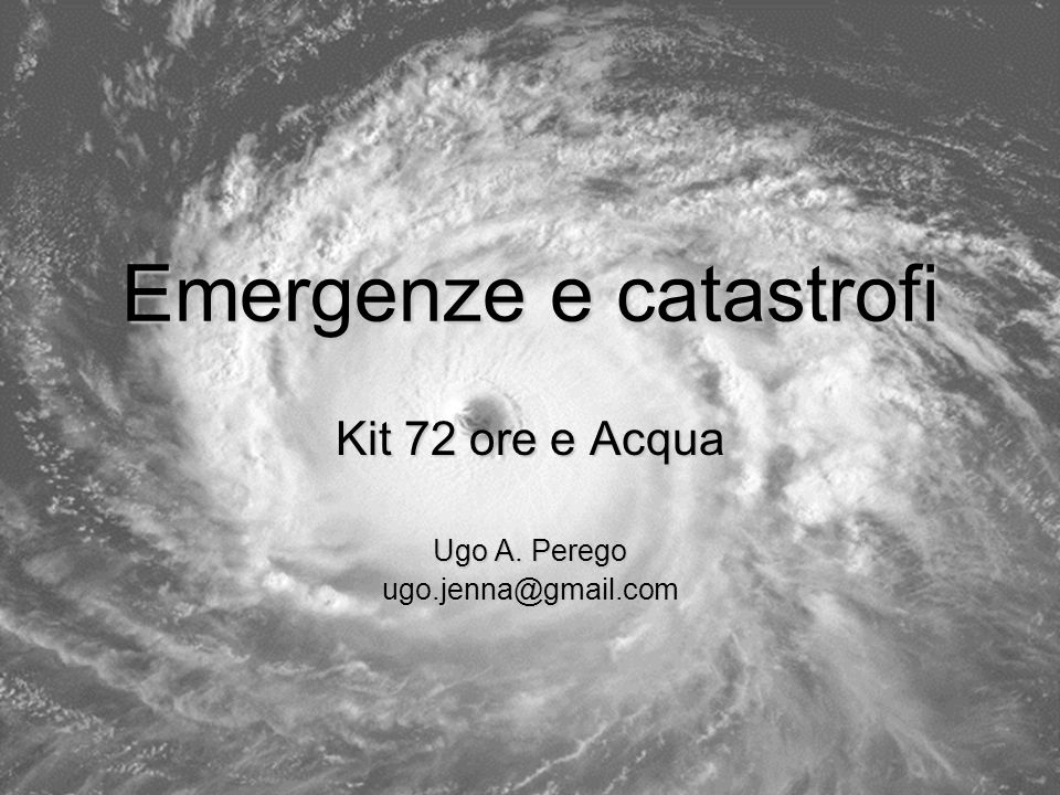 Emergenze e catastrofi
