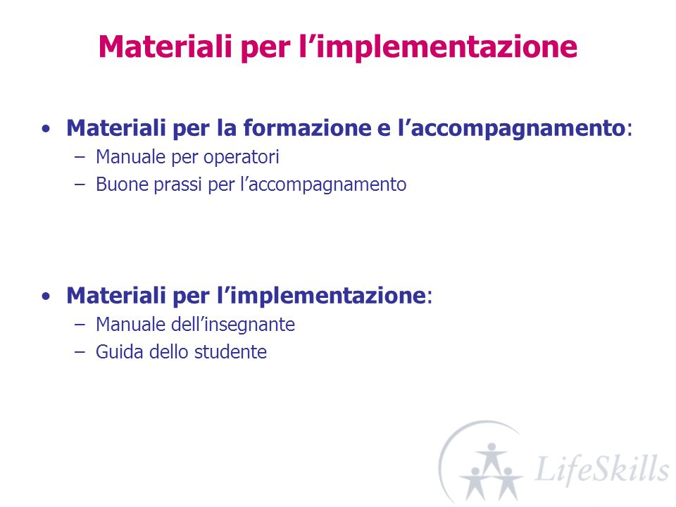 Materiali per l'implementazione
