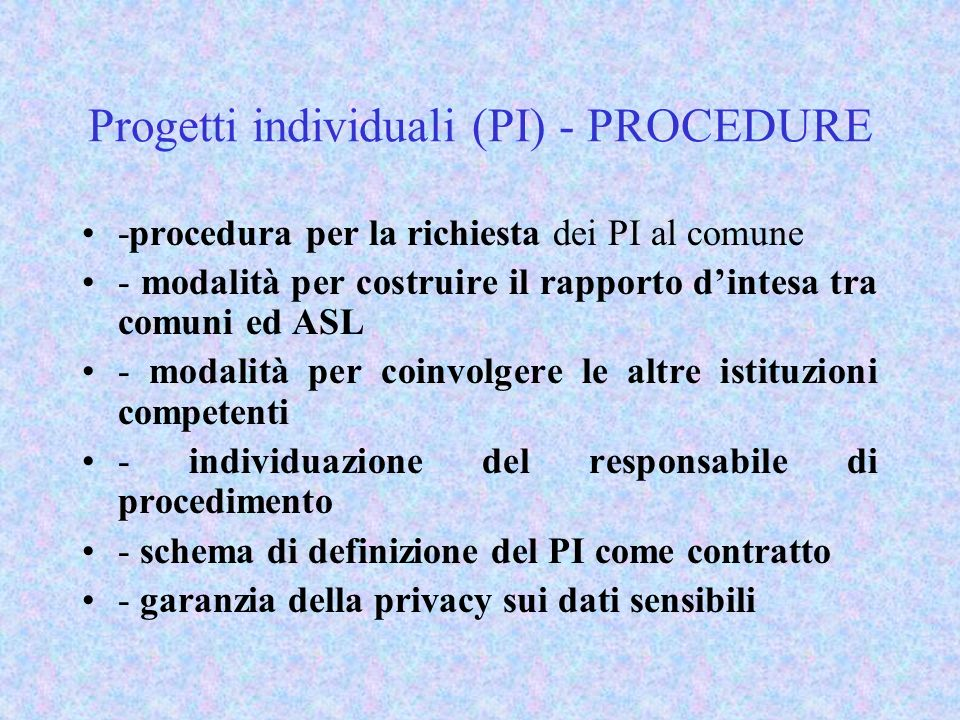 Progetti individuali (PI) - PROCEDURE