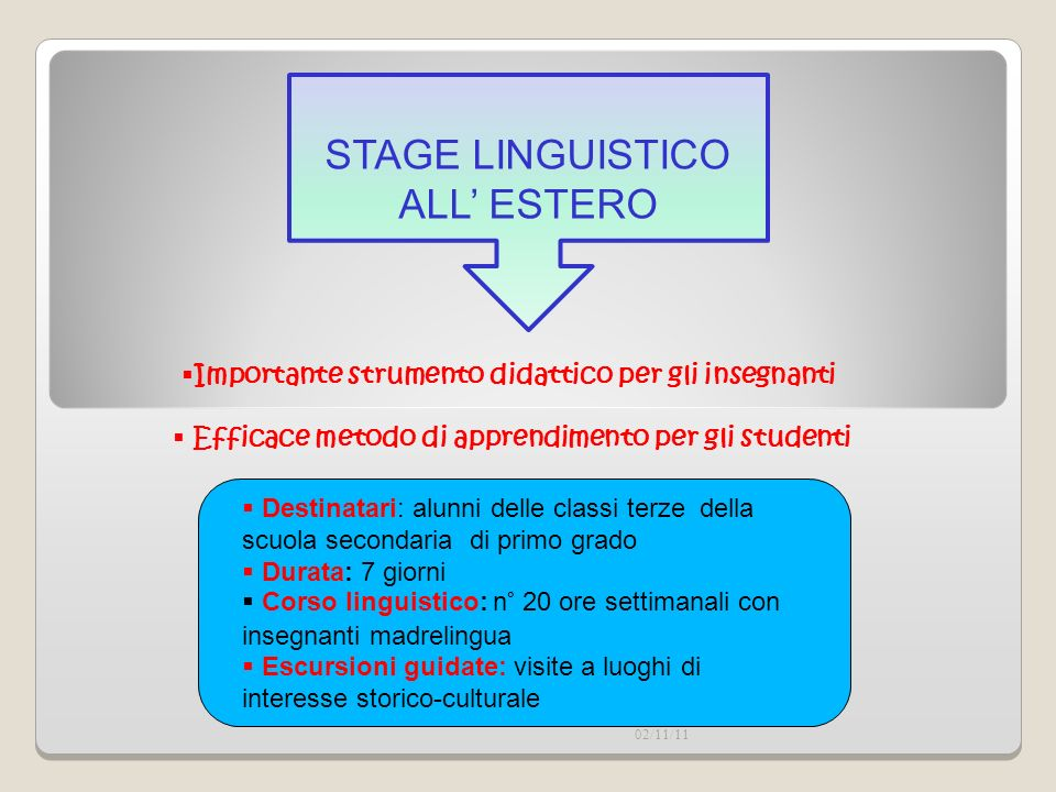 STAGE LINGUISTICO ALL' ESTERO