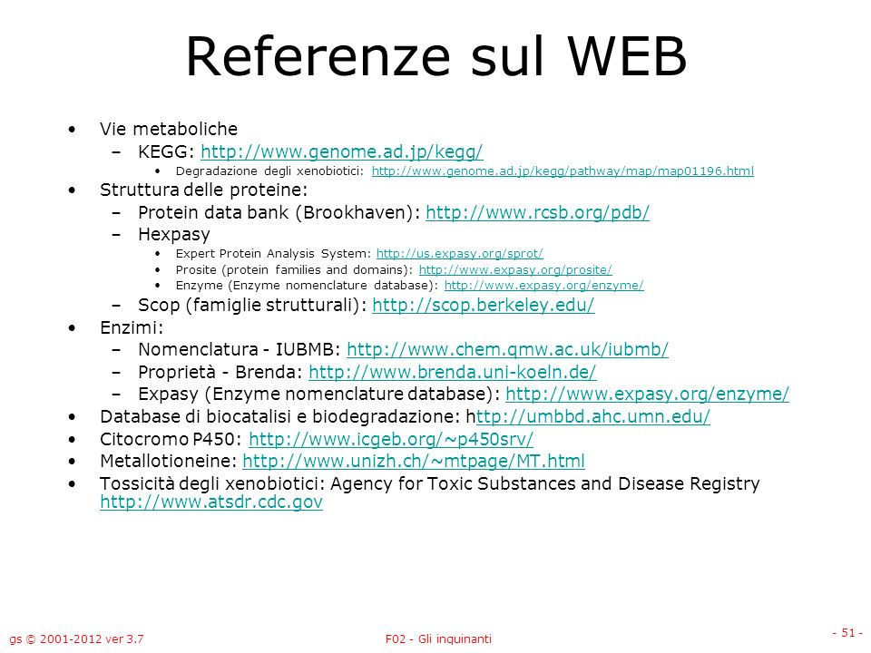 Referenze sul WEB Vie metaboliche KEGG: