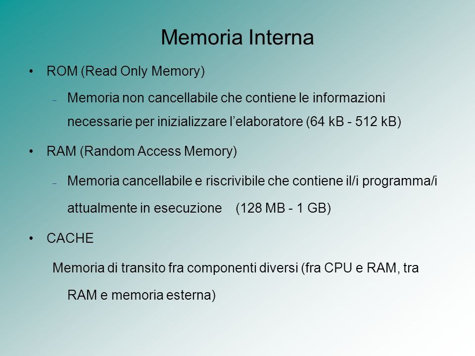 Memoria Interna ROM (Read Only Memory)