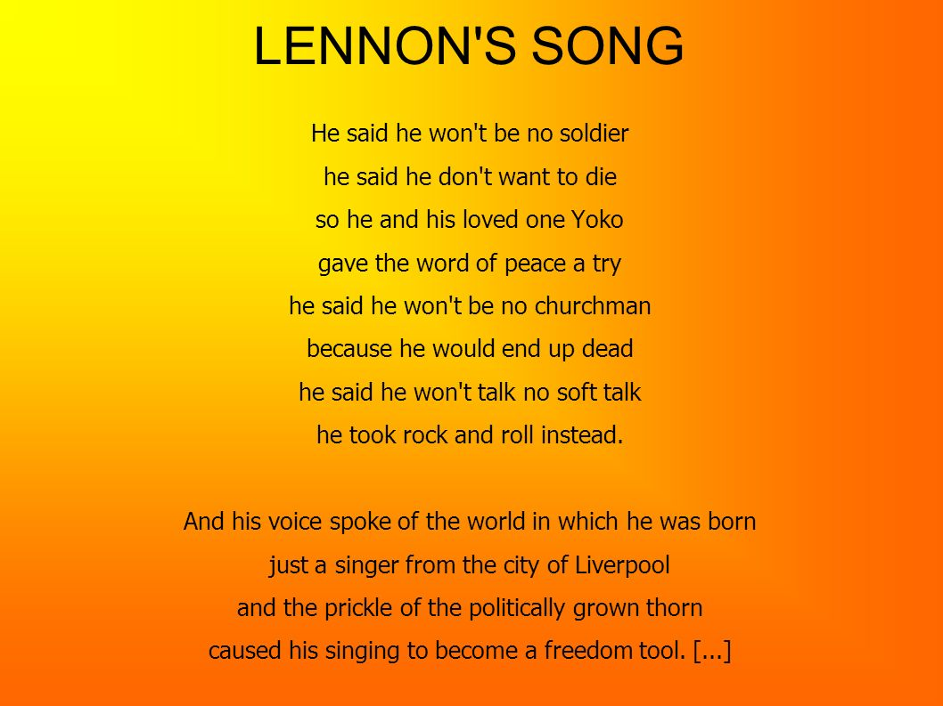 LENNON S SONG He said he won t be no soldier