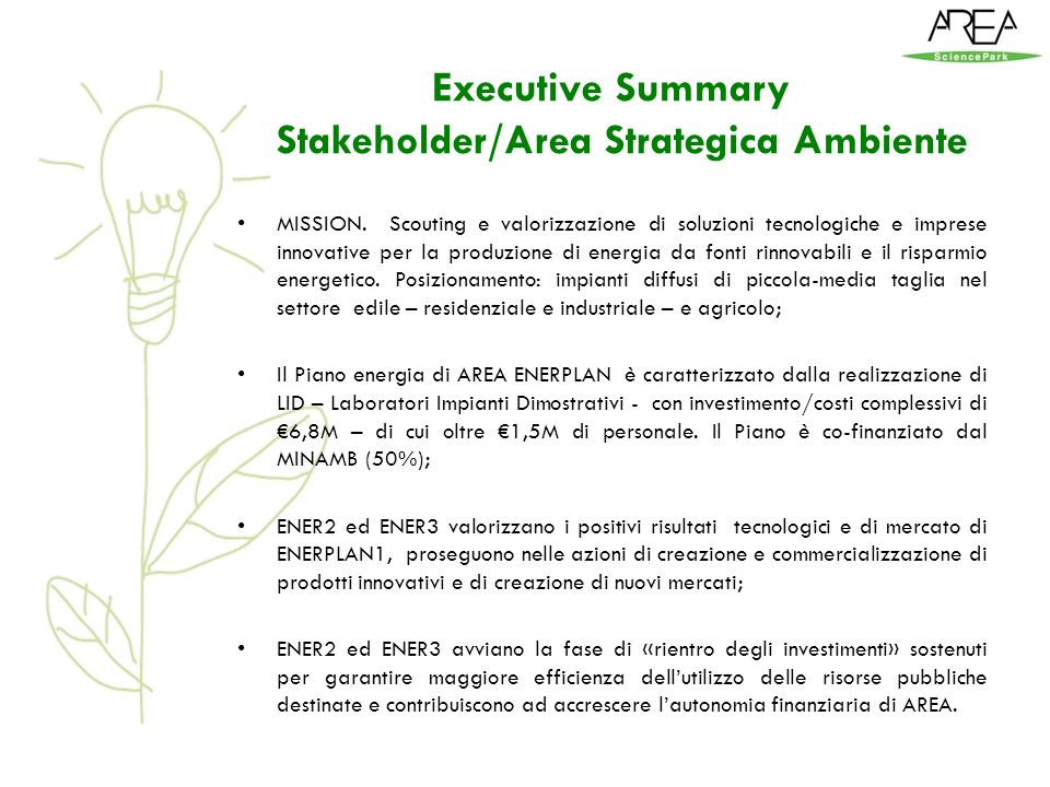 Executive Summary Stakeholder/Area Strategica Ambiente