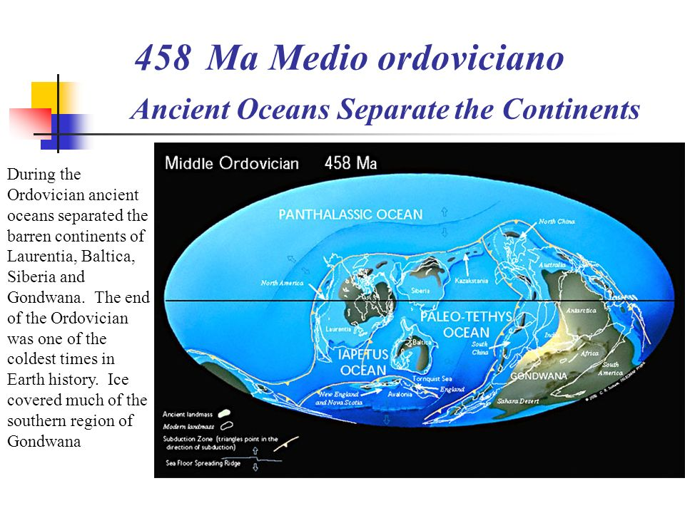 Ma Medio ordoviciano Ancient Oceans Separate the Continents