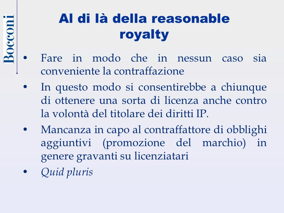 Al di là della reasonable royalty