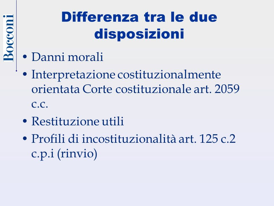 Differenza tra le due disposizioni