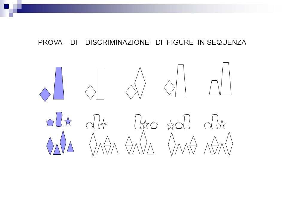 PROVA DI DISCRIMINAZIONE DI FIGURE IN SEQUENZA