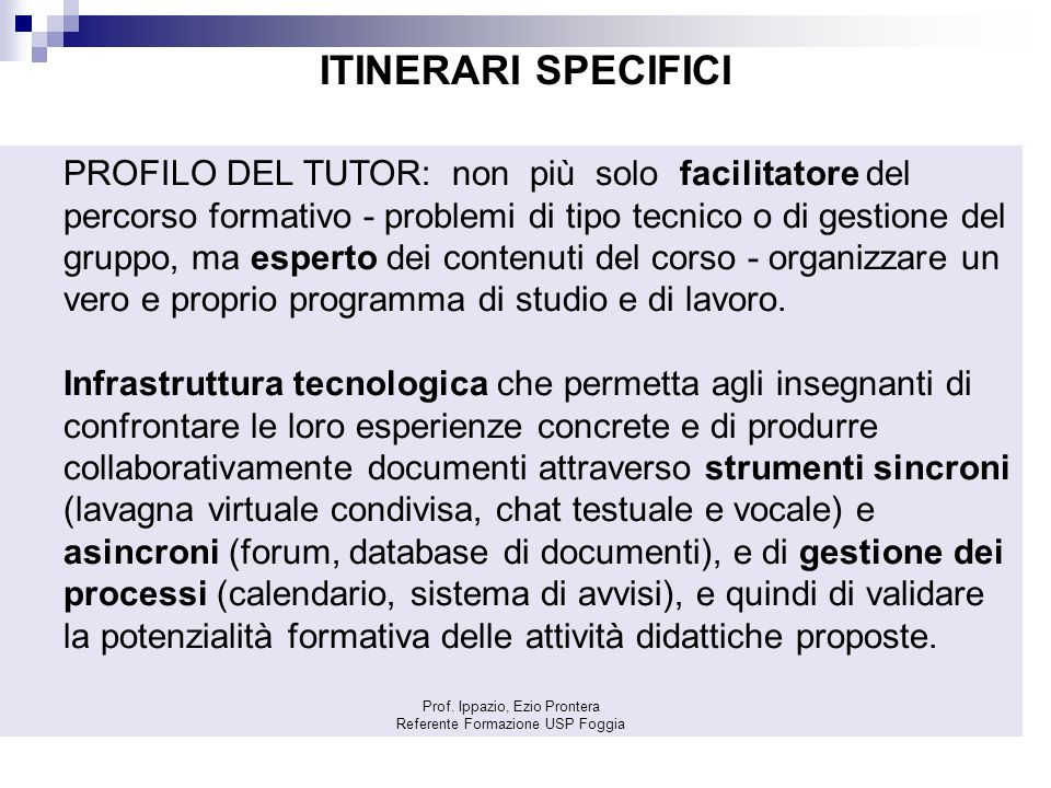 ITINERARI SPECIFICI