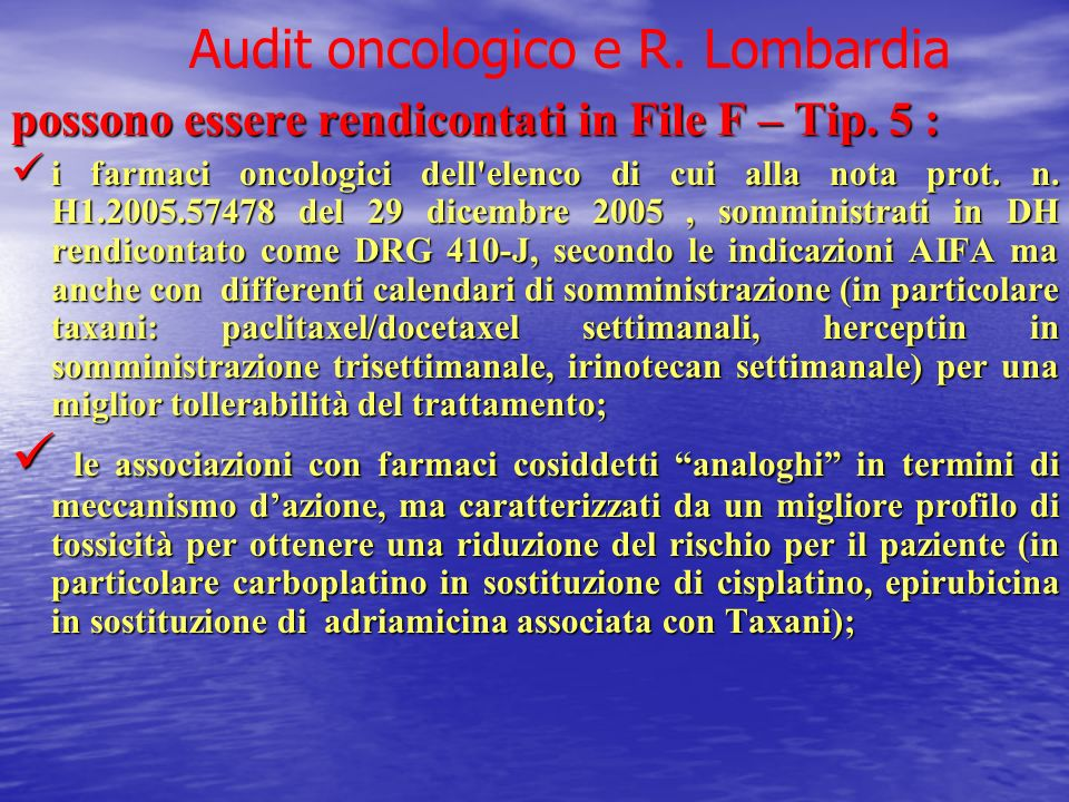 Audit oncologico e R. Lombardia