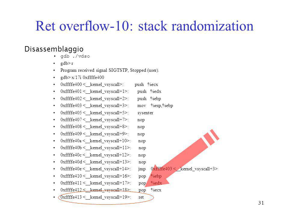 Ret overflow-10: stack randomization